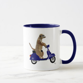 Meerkat on Dark Blue Moped Mug