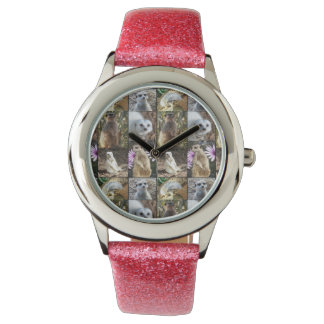 Meerkat Photo Collage, Girls Pink Glitter Watch. Watch