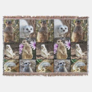 Meerkat Photo Collage Woven Throw Blanket
