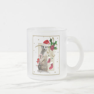 Meerkat Santa Frosted Glass Coffee Mug