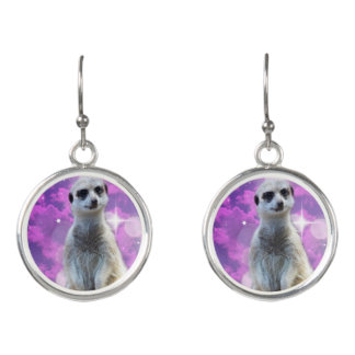 Meerkat_Sparkle_Ladies_Silver_Round_Drop_Earrings. Earrings
