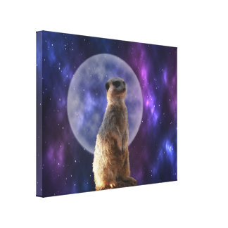 Meerkat Standing In Front Of Full Moon, Canvas Print