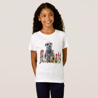 Meerkat With Meerkats Logo, Girls White Tshirt