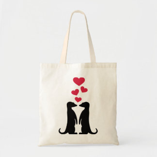 Meerkats red hearts love tote bag