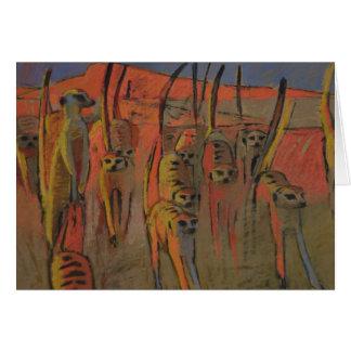 Meerkats war-dancing - Art card