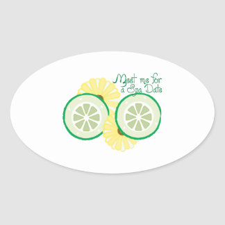 Meet for a Spa Date Oval Sticker