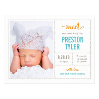 MEET HIM Modern Birth Announcement Postcard