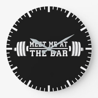 Meet Me At The Bar - Barbell - Workout Large Clock