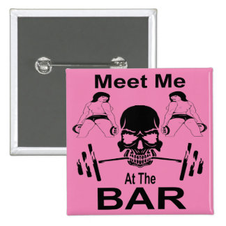 Meet Me At The Bar Gym Weight Lifting 15 Cm Square Badge