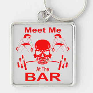 Meet Me At The Bar Gym Weight Lifting Silver-Colored Square Key Ring