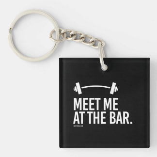 Meet me at the bar -   Running Fitness -.png Single-Sided Square Acrylic Key Ring