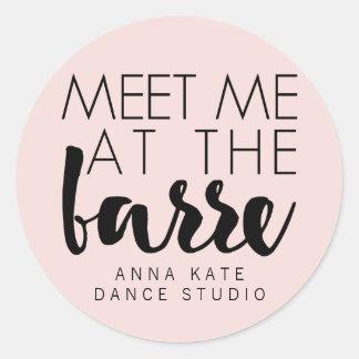 Meet Me at the Barre | Pink & Black Ballet Studio Round Sticker