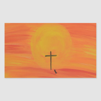 Meet Me At The Cross Rectangular Sticker
