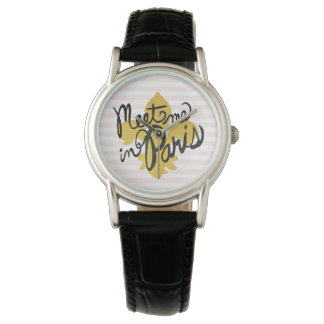 Meet Me in Paris Black and Gold Watch