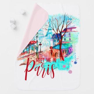 Meet Me in Paris France Eiffel Tower Watercolor Baby Blanket