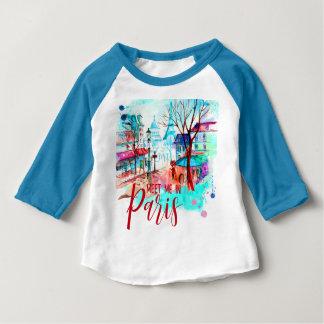 Meet Me in Paris France Eiffel Tower Watercolor Baby T-Shirt