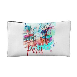 Meet Me in Paris France Eiffel Tower Watercolor Cosmetic Bags