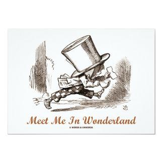 Meet Me In Wonderland (Mad Hatter Running) 13 Cm X 18 Cm Invitation Card