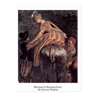 Meeting On Hunting Detail By Antoine Watteau Postcard