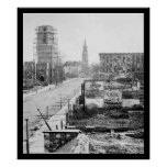 Meeting Street and Church Ruins in Charleston 1865 Poster