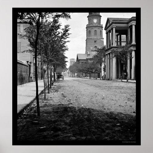 Meeting Street in Charleston, SC 1865 Poster