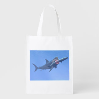 Megalodon eating a whale reusable grocery bag