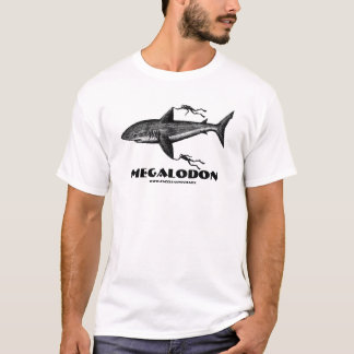 Megalodon shark and divers cool ink pen drawing T-Shirt