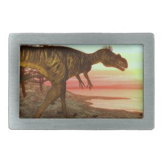 Megalosaurus dinosaur walking toward the ocean belt buckles