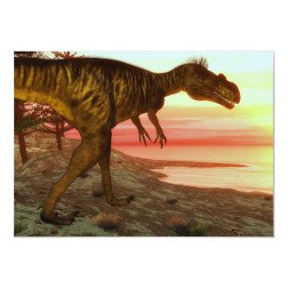Megalosaurus dinosaur walking toward the ocean card