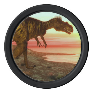 Megalosaurus dinosaur walking toward the ocean poker chips