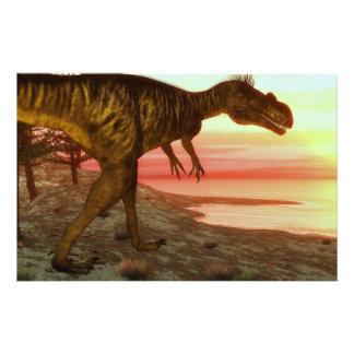 Megalosaurus dinosaur walking toward the ocean stationery