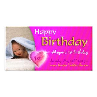 Megan Adoirable Heart Birthday Photo Invitation Custom Photo Card