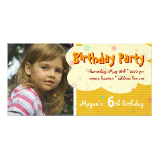 Megan's Orange Birthday Party Photo Invitation Photo Cards
