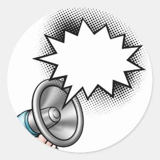 Megaphone Comic Book Speech Bubble Classic Round Sticker