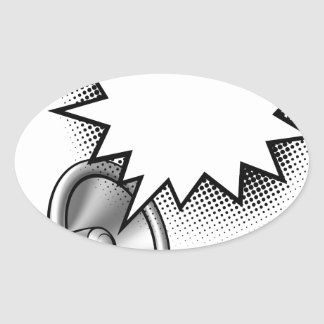 Megaphone Comic Book Speech Bubble Oval Sticker