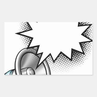 Megaphone Comic Book Speech Bubble Rectangular Sticker