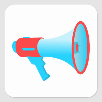 Megaphone Red and Blue Square Sticker