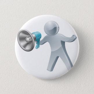 Megaphone silver man 6 cm round badge