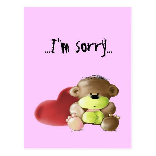 Sad Sorry Images: Megg: A Cute Teddy Bear - Sad, I'm Sorry, Postcard