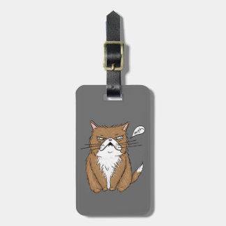 Meh Funny Grumpy Cat Drawing Luggage Tag
