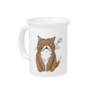 Meh Funny Grumpy Cat Drawing Pitcher