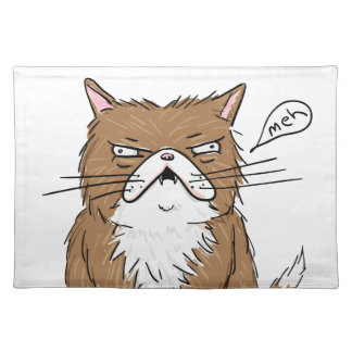 Meh Funny Grumpy Cat Drawing Placemat