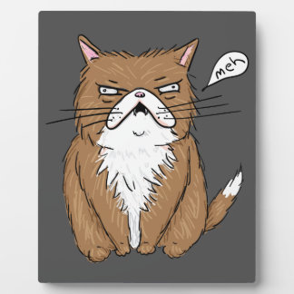 Meh Funny Grumpy Cat Drawing Plaque