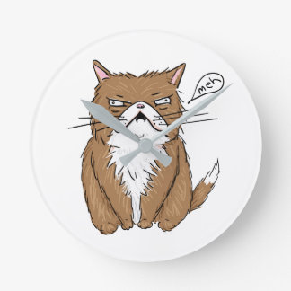 Meh Funny Grumpy Cat Drawing Round Clock