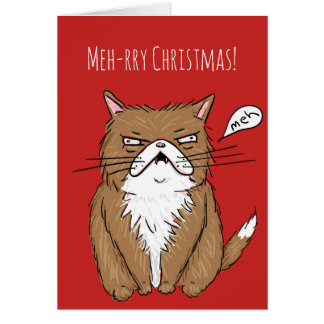 Meh-rry Christmas Funny Grumpy Cat Christmas Card