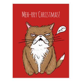 Meh-rry Christmas Grumpy Cat Christmas Postcard