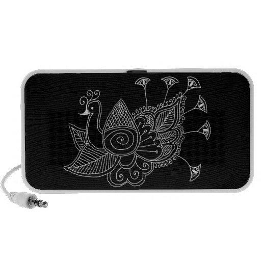 Mehendi Peacock Black and White PC Speakers