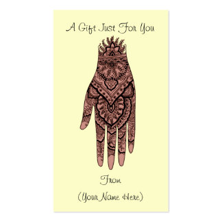 Mehndi Hand Design Personalised Gift Card Tag Pack Of Standard Business Cards