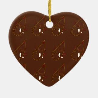 Mehndi henna Brown Ornaments. Luxury edition Ceramic Ornament