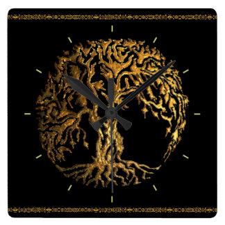 Mehndi Tree of Life (Gold) Square Wall Clock